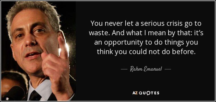 Never Waste A Crisis - samluce.com